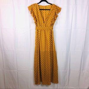 Polka Dots Dress Mustard Yellow